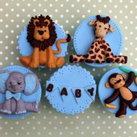 Baby Animals Cupcakes lion, giraffe, elephant and monkey