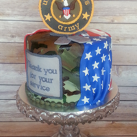 Veterans Day   This is a part camouflage, part American flag cake done for veterans day for an Army Ranger. All fondant.