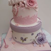 Vintage Hatbox Cake Two tier Vintage Hatbox cake h hand-painted roses.