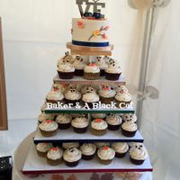 "Baseball In The Fall Themed Wedding Cake & Cupcakes A 6"" buttercream cake with gumpaste leaves and chocolate buttercream branches (Baseball Love topper from Spectacular Events on Etsy,..."