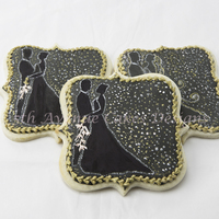 Hand Painted Wedding Cookies With Dot Art The finished cookie is flooded with black royal icing exquisitely decorated with pointillism (dot art/painting)!