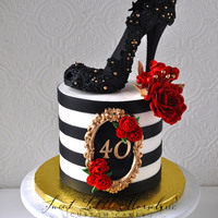 40Th Birthday Cake Made the shoe out of black fondant and used a lace mold to make the impression.
