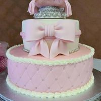 "Princess Baby Shower Cake This cake consists of 12"" round cake and an 8"" round on top with an embellished wood platform for a small fondant covered rice..."