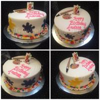Paint Splatters Cake Chocolate cake covered in fondant with