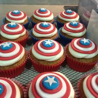 Captain America Cupcakes Carrot cupcakes with cream cheese frosting. I made it with my avengers birthday cake. Fun!