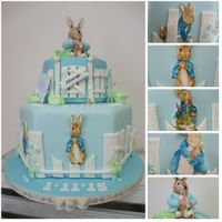 Peter Bunny Cake This is my version of Peter Rabbit .Peter, himself, is made from sugar paste and is hand-painted. All plaques are hand-cut and hand-painted...