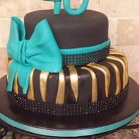 Black And Teal With Gold Zebra Back with gold zebra stripes. Added teal bow and black glitter band.