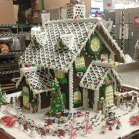 Gingerbread House The base is 4ft x 4ft in wide, the house is about 2 1/2 ft. In height. I used 12 full sheet of gingerbread for inside support and...