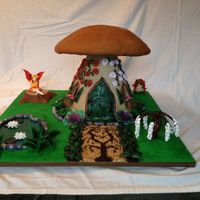 Gingerbread Mushroom Fairy House Made completely of edible material. Gingerbread dome and structure. Fondant, gumpaste, and poured sugar handmade decorations.