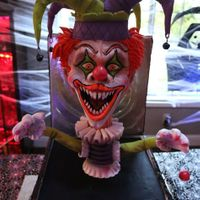 "Scary Clown In Jack In The Box!  This creepy guy is sculpted RKT and fondant/mod choc with a big ol' 12"" x 12"" box of cake! He has blacklight reflectiveness..."