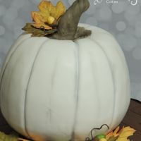 Fall Festival I just love white pumpkins and the colors of fall. This cake was for a school festival. All decorations are edible. Chocolate cake with...