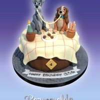 Lady And The Tramp Lady and the Tramp cake with handmade characters