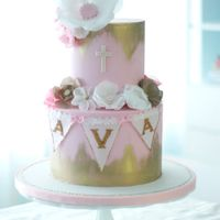 Glam Baptism Cake Glam baptism cake with wafer paper flowers and bunting.