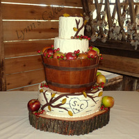 Fall Wedding Cake Love making this cake. Vanilla cake with buttercream icing with fondant accents. I used a wood grain card embossing folder to imprint the...