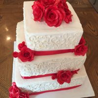 Red Roses Wedding Cake 3 tier square wedding cake with red roses
