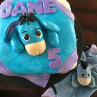 Eeyore   Butter cream cake with a Marshmallow fondant eeyore (I recreated my, just turned 5 year old daughters 'love')