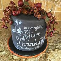 Give Thanks! double barrel chocolate cake Free hand design