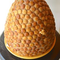 Beehive Cake Used the Wonder Mold pan for this large beehive cake topped with caramel buttercream and (have you guessed yet?) sweetly seasoned honey...