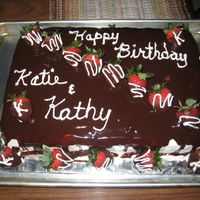 Strawberries And Ganache Chocolate Cake Dual Birthday