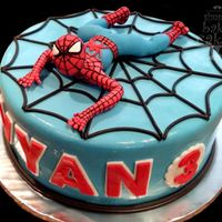 "Spiderman Cake 8"" chocolate cake with butterscotch frosting, fondant details and spiderman topper"