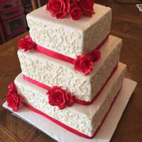 Red Rose Wedding Cake 3 Tier Red Velvet Wedding Cake with Sugar Red Roses
