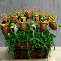Deer And Duck Cake Pops   Deer and duck cake pops for a rehearsal dinner for the groom