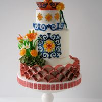Andalusian Garden Inspired Cake Inspired by the Andalusian style gardens of Old Spain. Fountain is fondant/gum paste, water is isomalt. Terracotta tiles are fondant and...