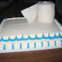 Toilet Paper Cake Asked for a cake with a roll of TP on it.
