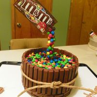 Happy 13Th Birthday! Made for our 13 yr old Grandson. Midnight chocolate cake, kit kats for barrel and m& m's.