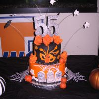 55Th Halloween Birthday I broke out my dusty Cake Cricut to cut out Wilton white sugar sheets that were sprayed orange for the branches with leaves for the top...