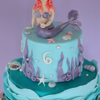 Mermaid Cake Ispiration from seabed and the sea thiw 2 tier cake was made for a little girl, with some elements for her baby brother.Figure is hand made...