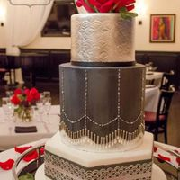 Art Deco Beaded Wedding Cake Based on a Faye Cahill design, but changed up. Lots of silver leaf and shaped dragees. Love the silver, charcoal grey and red combo. The...