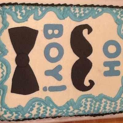 Mustache And Bow Tie Baby Shower Cake on Cake Central