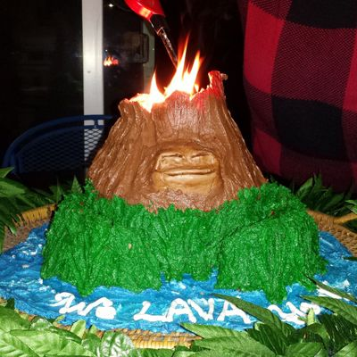 "Lava Birthday Cake ""eruption"""