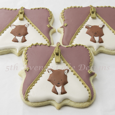 Decorated Woodland Fox Inside A Royal Icing Zipper Cookie