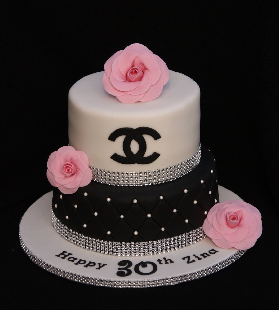 Chanel Cake Ideas: Chanel Bling Cake With Sugar Chanel Camellias