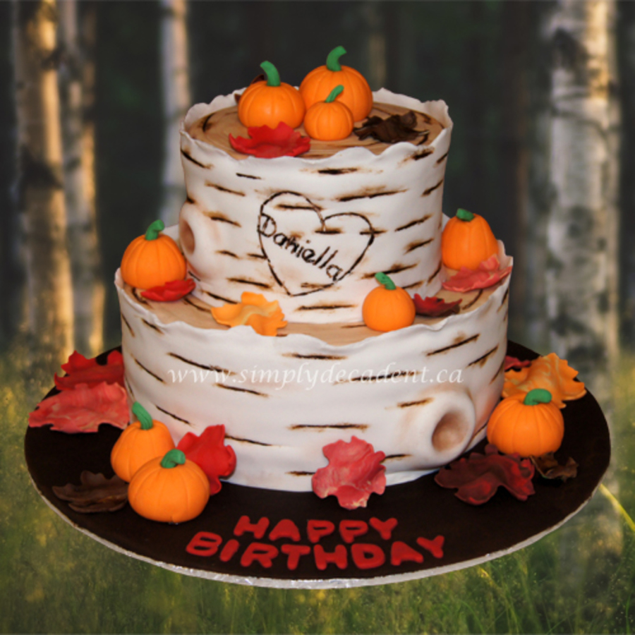 2 Tier Fondant Birch Tree Birthday Cake With Hand Sculptured Fondant