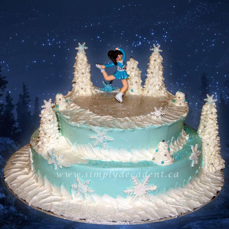 Winter Wonderland Birthday Cake With Figure Skater Cakecentral