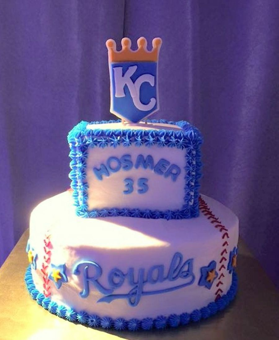 Kansas City Royals Buttercream Cake With Fondant Decorations on Cake Central
