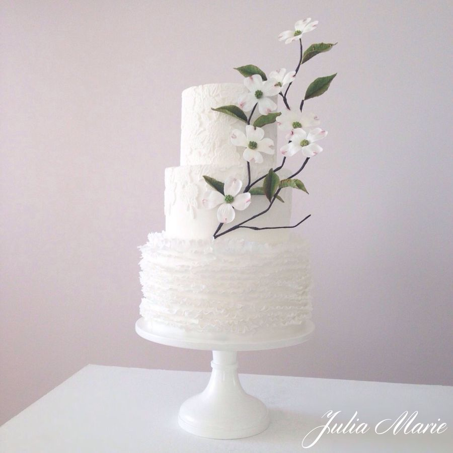 A White Wedding With Dogwood Blossoms on Cake Central