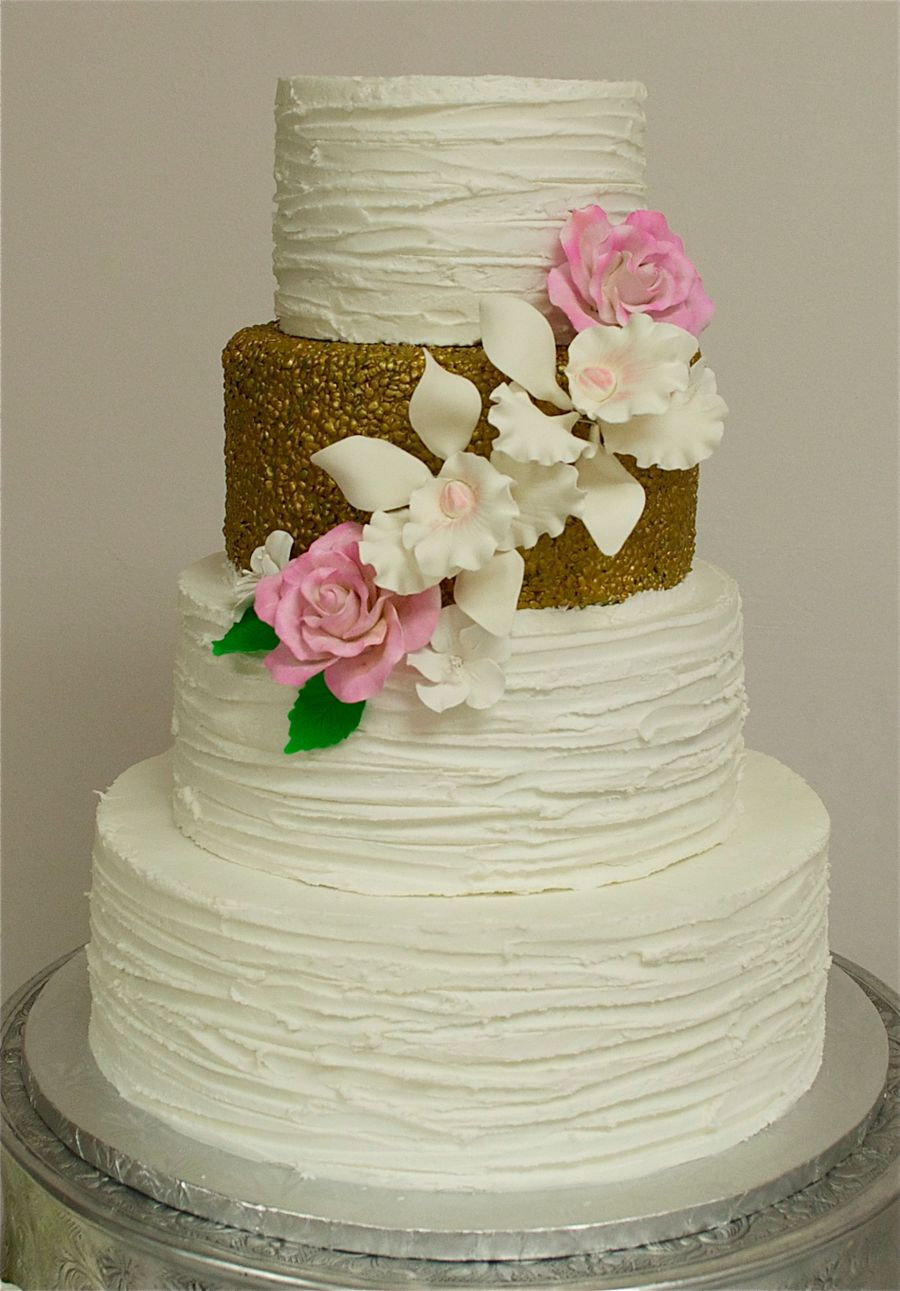 Textured Buttercream & Gold Wedding Cake - CakeCentral.com