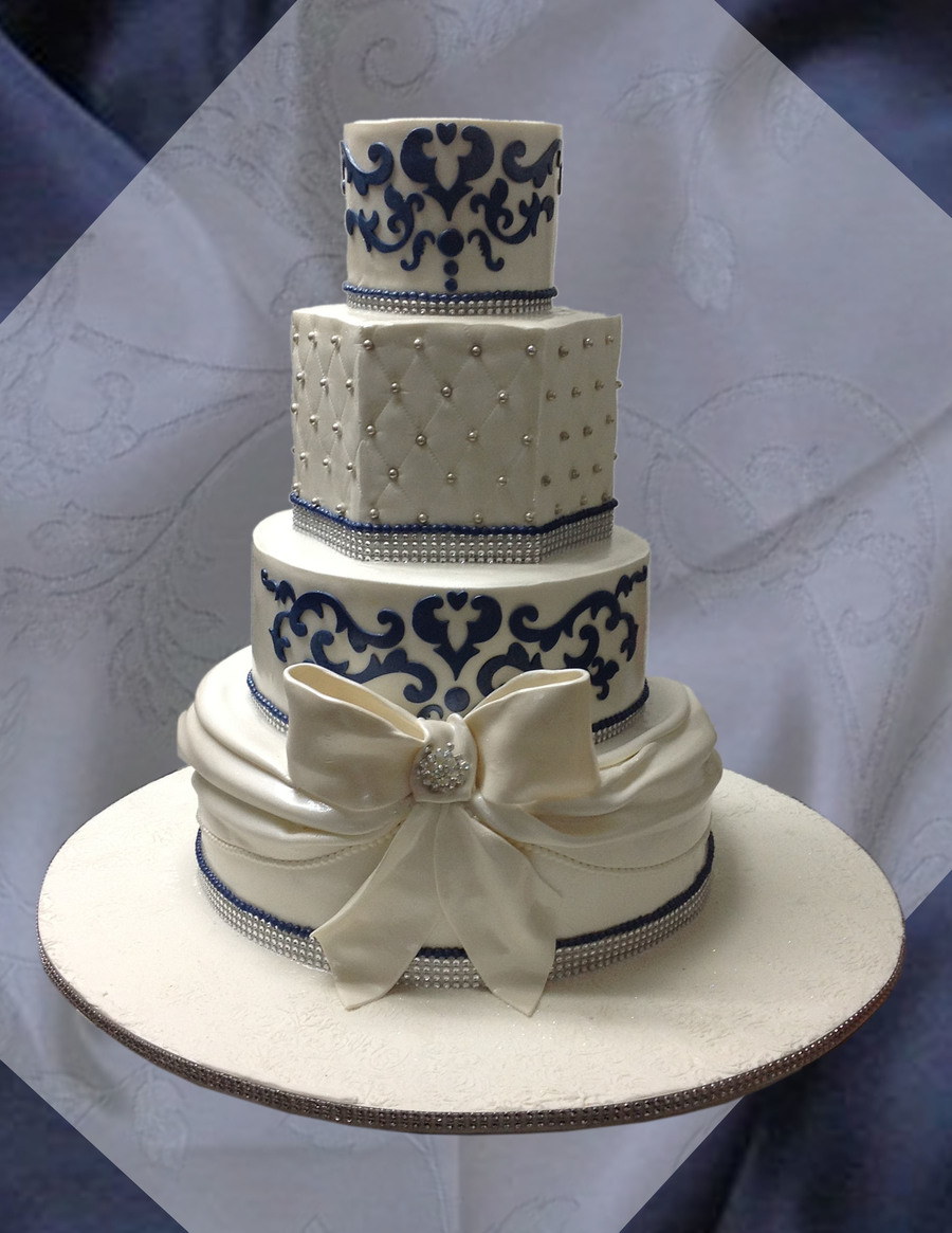 Wedding Cake Designs Blue And White : Navy Blue And White Wedding Cake - CakeCentral.com