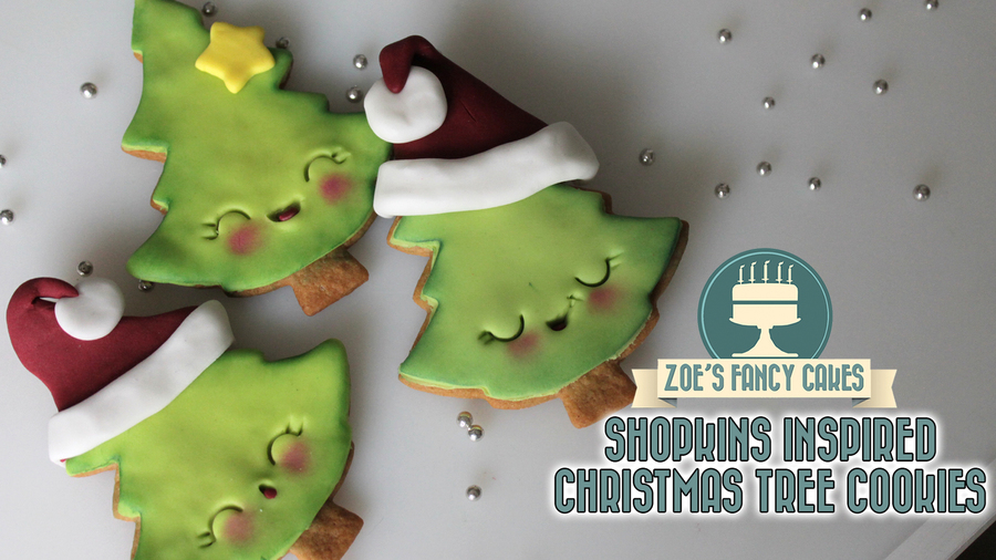 Shopkins Inspired Christmas Tree Cookies on Cake Central