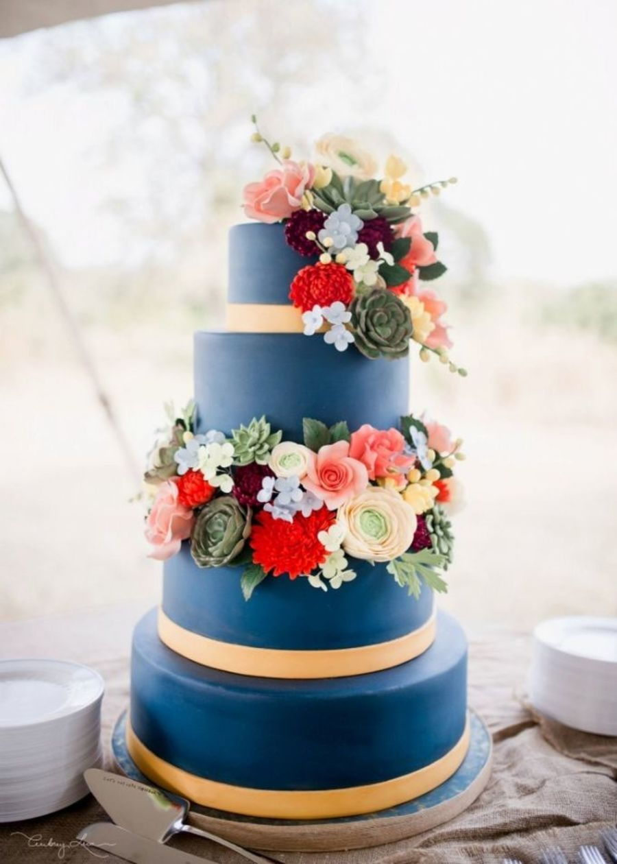 Navy Wedding Cake on Cake Central