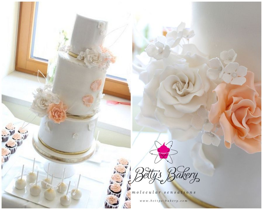 """white & Salmon Weddingcake"" on Cake Central"