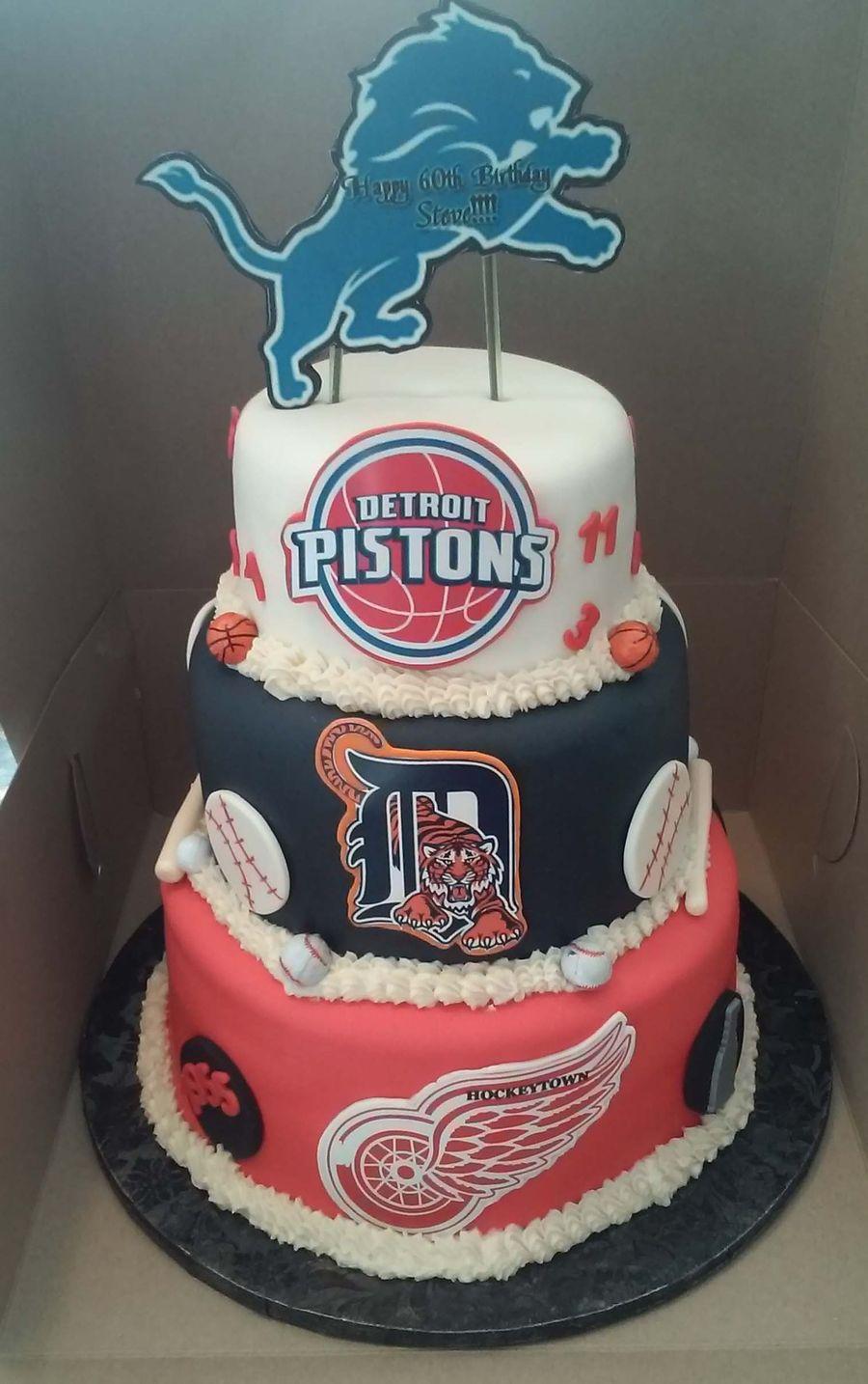Enjoyable 3 Tier Detroit Sport Teams Themed Birthday Cake Cakecentral Com Birthday Cards Printable Benkemecafe Filternl