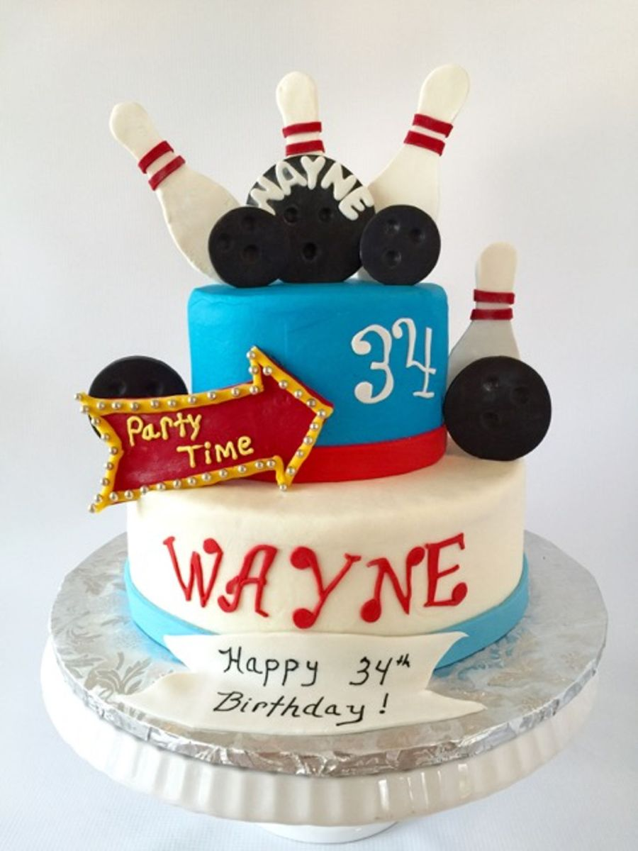 Awesome Bowling Themed Birthday Cake Cakecentral Com Personalised Birthday Cards Veneteletsinfo