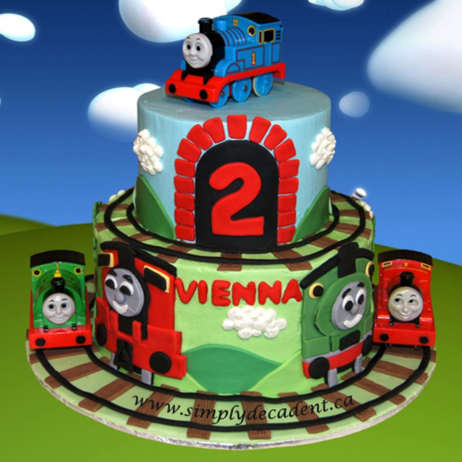 2 Tier Buttercream Thomas The Tank Engine Birthday Cake With Fondant