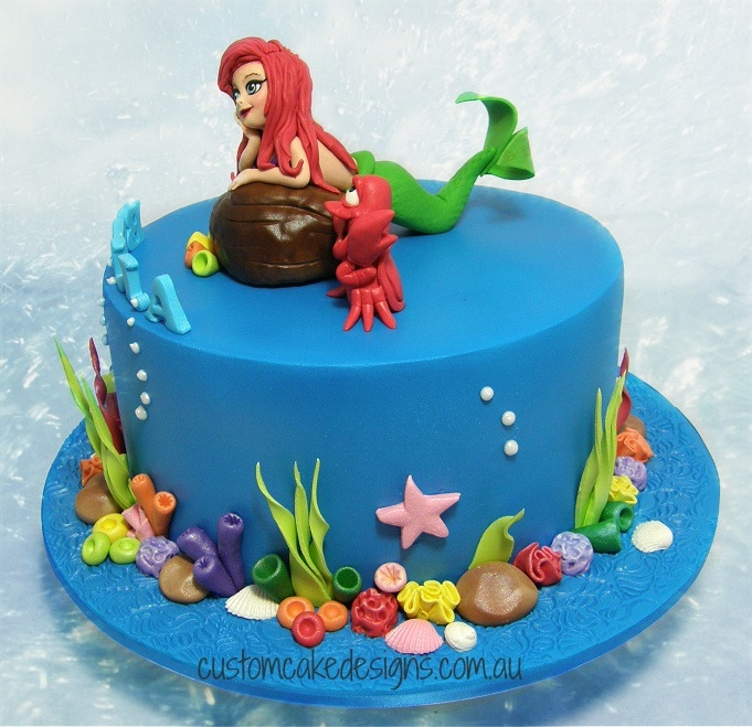 Ariel little mermaid cake for Ariel cake decoration