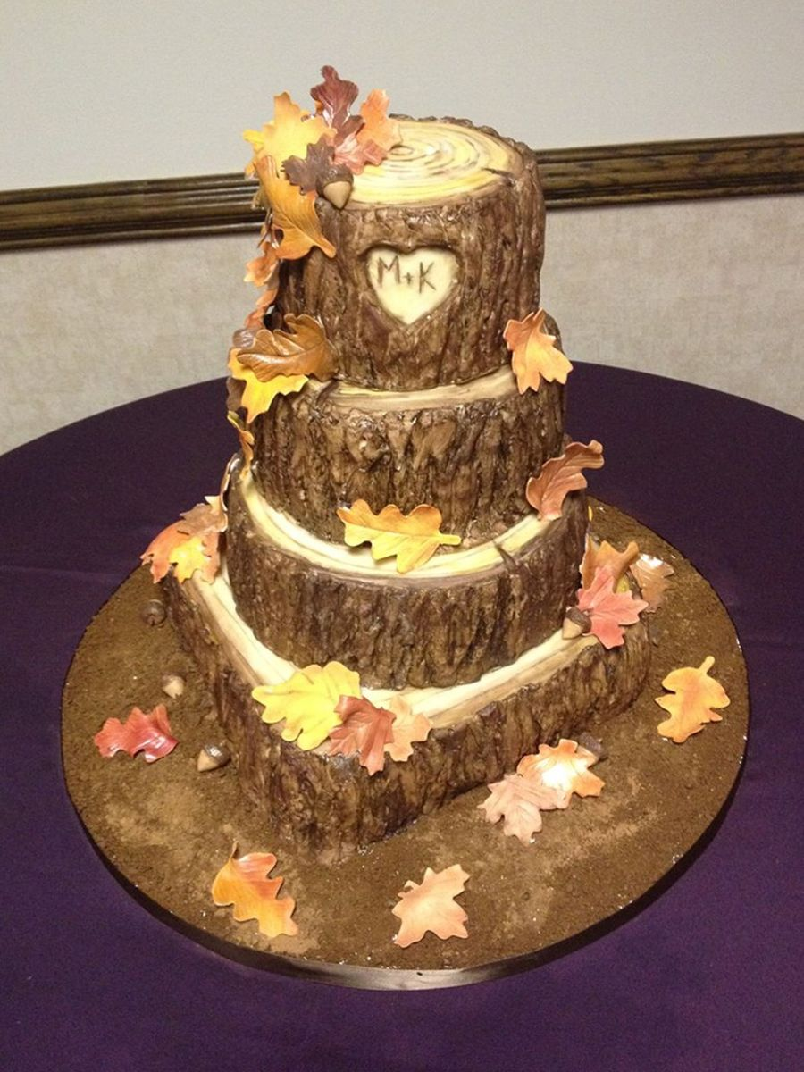 Fall Tree Stump Wedding Cake - CakeCentral.com